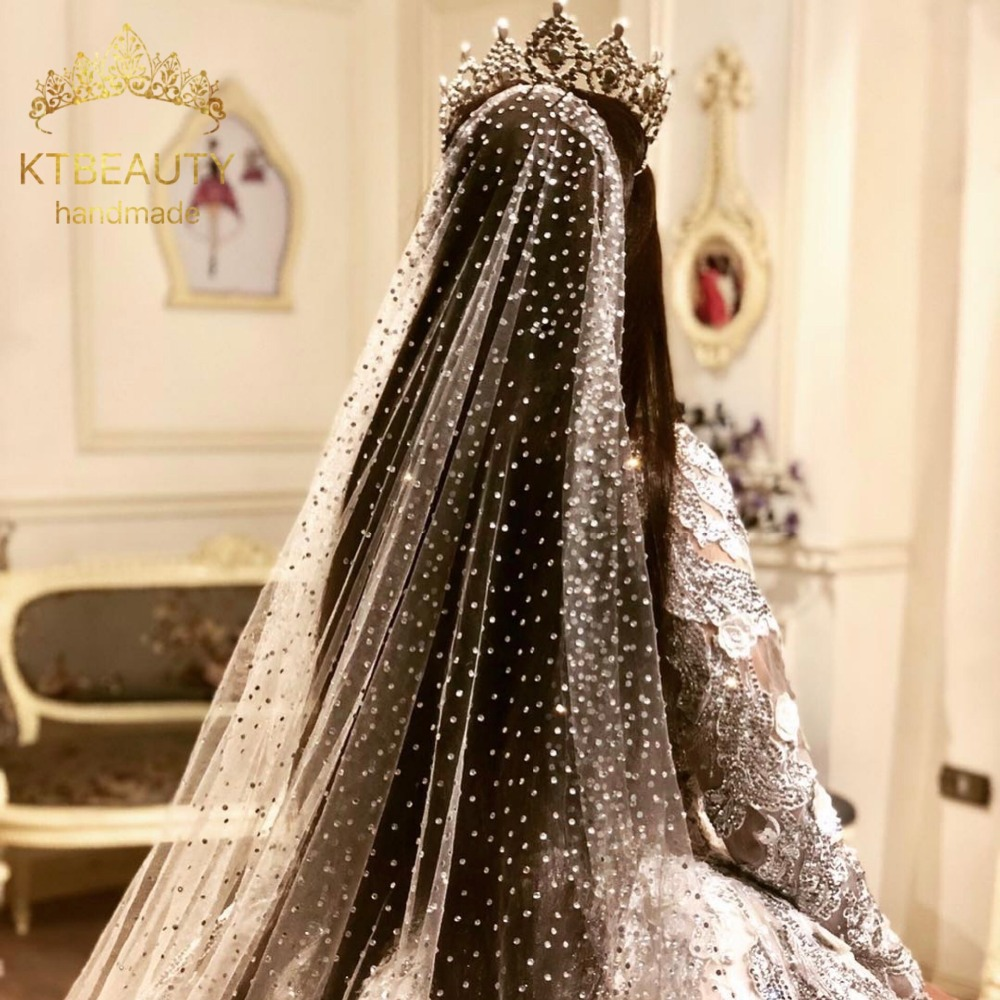 One Layer Catedral de velo Royal Grenadine Crystal Bring Veil Custom Made 3M Wide Veil Bridal