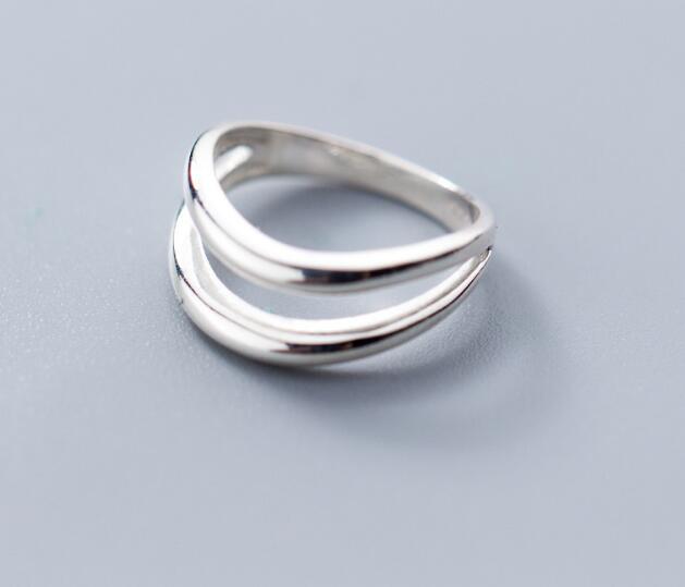 100% Authentische Real.925 Sterling Silber Edlen Schmuck Hohl Doppel Reihen Unregelmäßige Geometrische Knuckle Midi Kappe Ring Gtlj1472 Weniger Teuer