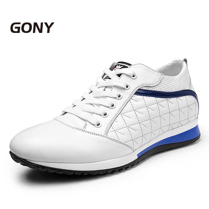 GN2230 Fashion Men's Black/White Calfskin Shoes for Men Comfortable Lift Height 8 cm in Daily Wearing 3.16 Inch Taller