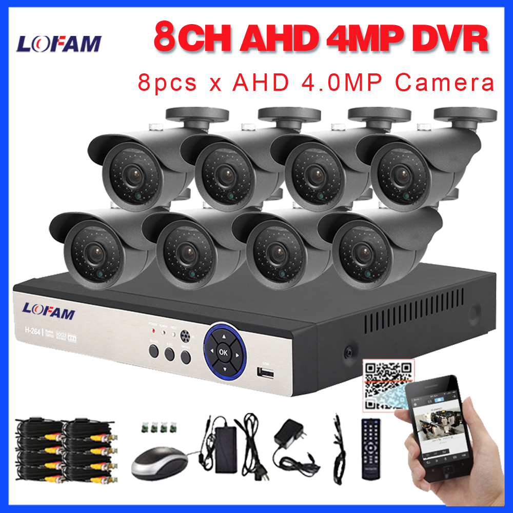 LOFAM 8CH DVR System 4MP AHD DVR Kit Video Surveillance System 8CH Metal Outdoor Waterproof 4
