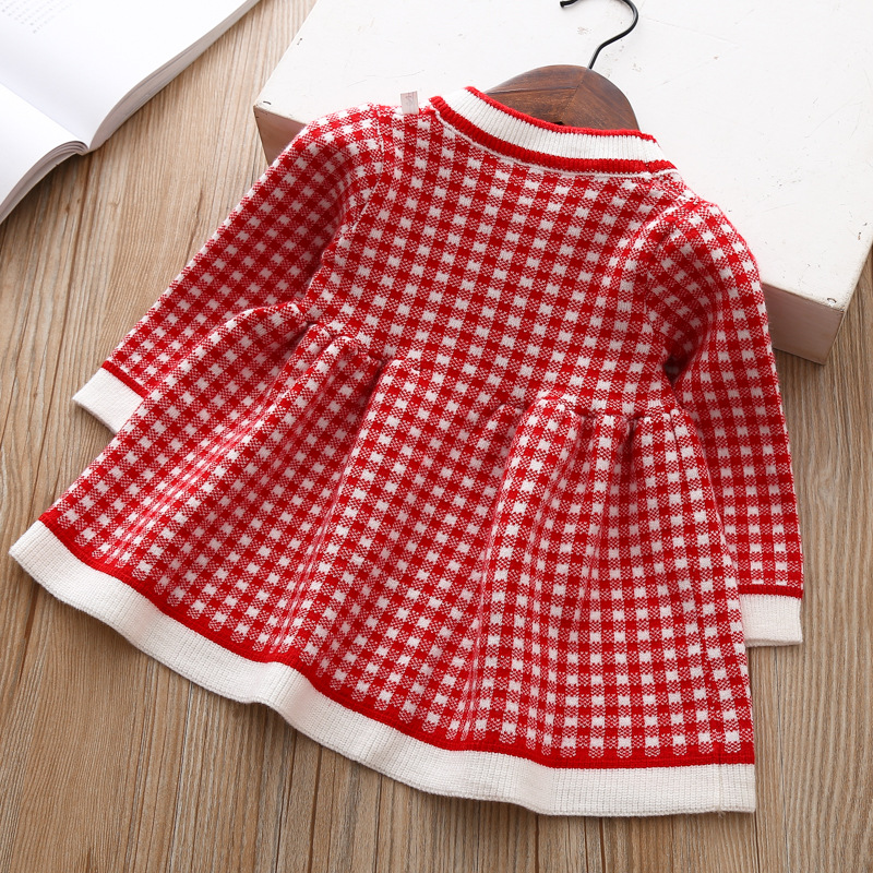 2020 Autumn Winter Baby Long Sleeve Plaid Sweater Dress For Baby Girls 1 Year Birthday Dress Infant Baby Wedding and Party Dress 4