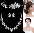 Flower Crystal Pearl Bride 3pcs Set Necklace Earrings Tiara Bridal Wedding Jewelry Set Accessories For Women NE181 white red