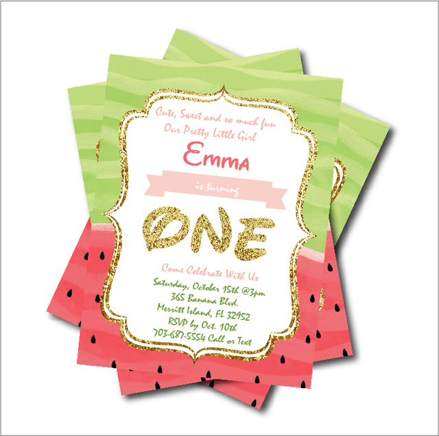20pcs Lot Watermelon Birthday Invitations Baby Shower Invites First Invitation Kids Summer Party Decoration Supplier