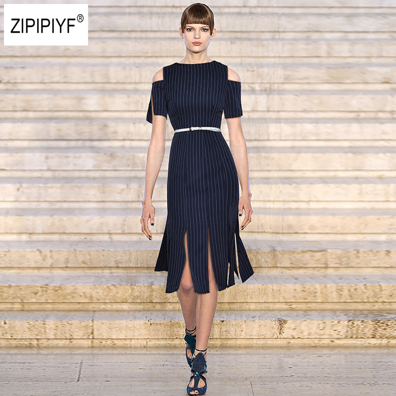 2018 Women's Summer Fashion Casual Striped Short Sleeve Belt Dresses Sexy Off Shoulder Slit Dresses Slim dress Vestidos B1011 silvercell women sexy off shoulder club dress fashion knitted elastic sweater slim bodycon dress vestidos