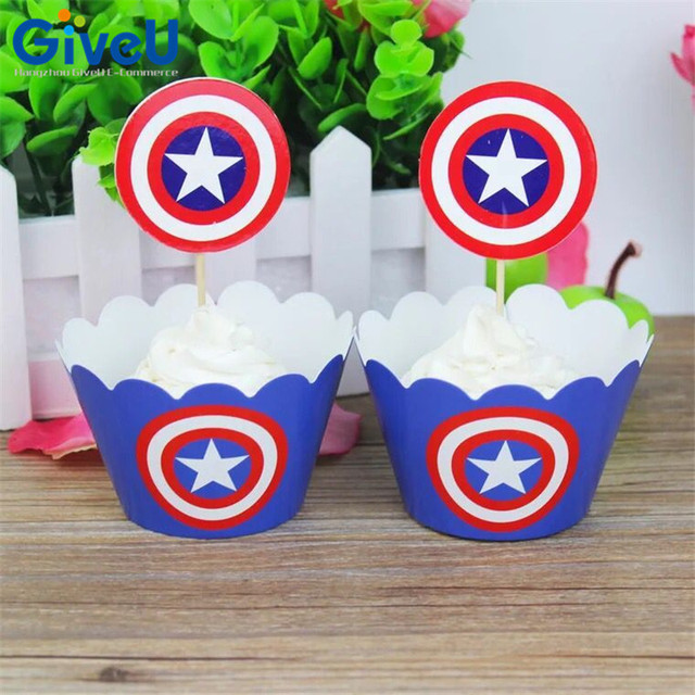 GiveU 24pcslot Captain America Paper Cupcake Wrappers Toppers