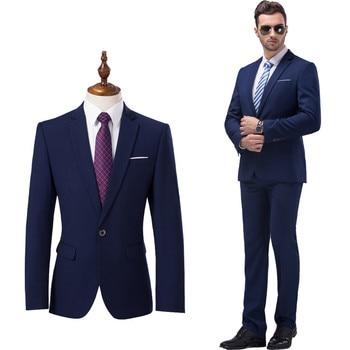 ( Jackets + Pants ) Premium Brand High Quality Pure Color Groom's Man Fashion Wedding Dress Suit Men's Formal Business Suit