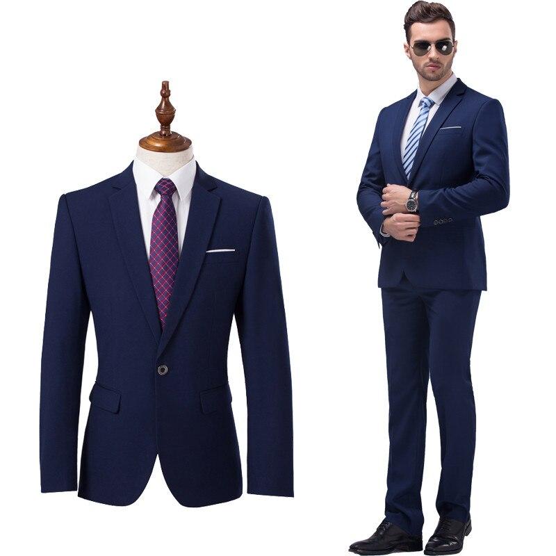 (Giacche + Pantaloni) Moda uomo di Marca Premium di Alta Qualità Colore Puro Sposo Abito Da Sposa Vestito Da Cerimonia Uomo Vestito di Affari