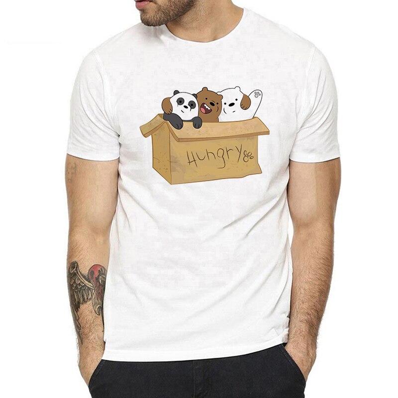 Cartoon We Bare Bears Cards   T     Shirt   Man Cotton Short Sleeve Fashion Summer Harajuku Streetwear O-neck Men   T  -  shirt