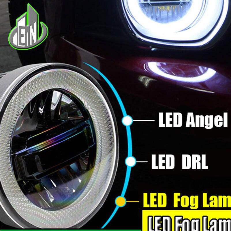 Автомобиль стиль светодиодными фарами дневного света Противотуманные фары для Форд Транзит коннект 2014 2015 светодиодные Противотуманные фары глаза Ангела ДХО 3-В-1 функции