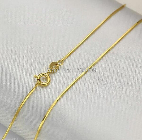 BEST AU750 Solid Yellow Gold Necklace Snake Chain 17 7 L 1 9g