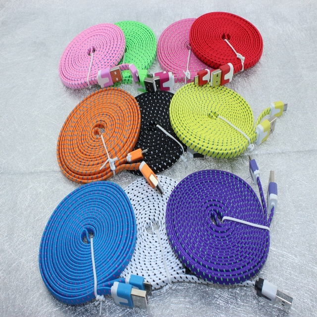 200pcs/Lot 3M 10ft Durable Braided Fabric Micro USB 2.0 Data Charger Cable For Samsung for LG for HTC