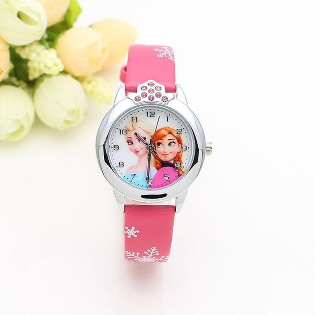 1 unit /lot 2018 Newest Cartoon Girls Elsa Anna Princess Diamond Watches Clock L