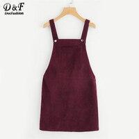 Dotfashion Bib Pocket Front Overall Dress 2017 Burgundy Square Neck Pinafore Cute Shift Dress Sleeveless Short