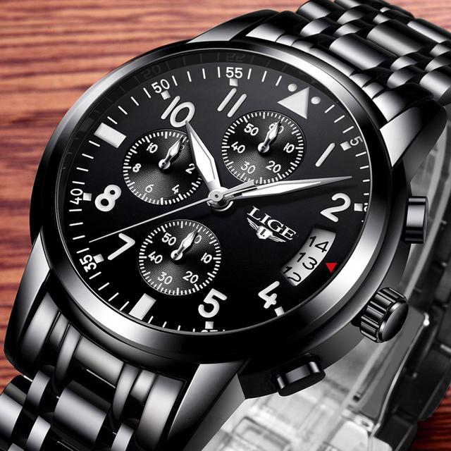 LIGE Mens Watches Top Brand Luxury Fashion Business Quartz Watch Men Sport Full Steel Waterproof Black Clock