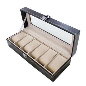 Image 2 - Uhr fall Leder uhr box Schmuck box Geschenk für männer (6 fächer Schwarz)