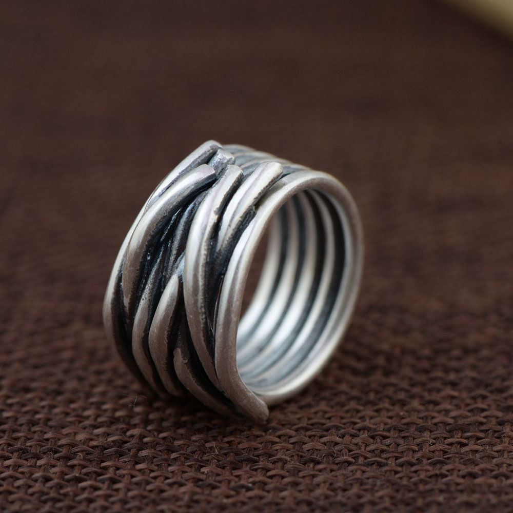 925 Silver Rope Rings for Men Women Jewelry Simple 100% Real S925 Sterling Thai Silver Ring Size 6.5 10