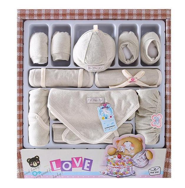 Best gift for newborn baby clothing set 100% organic cotton soft Fabric kids spring cloths pants hat socks set 11pcs or 13 pcs