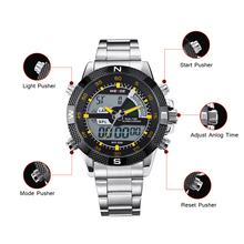 WEIDE luxury Brand Fashion Sport Watches Men Analog Digital Display Waterproof Japan Quartz Movement Stainless Steel Strap watch все цены