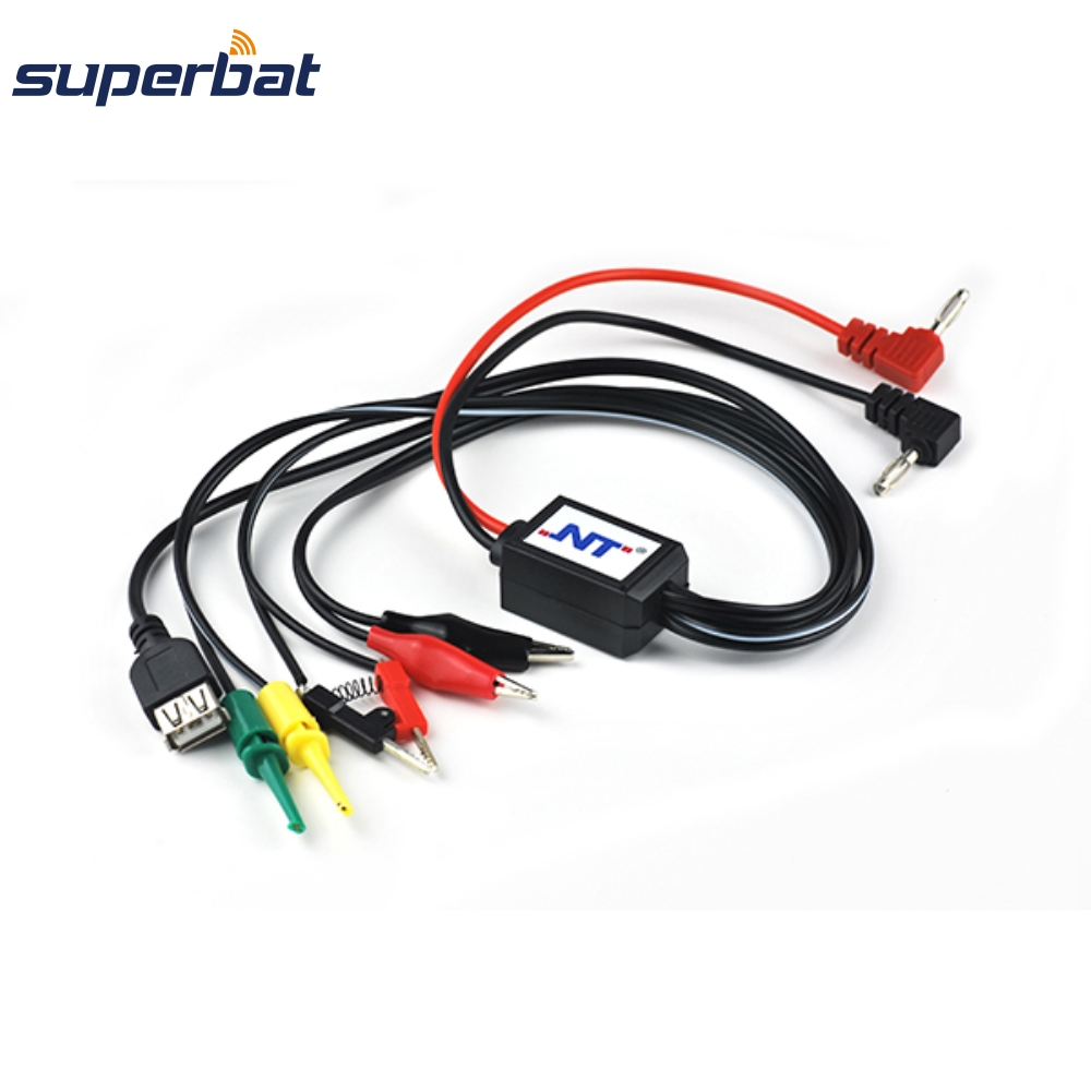Superbat Multifunction DC Power Interface Wire Banana Plug Test Clip Hook Probe Cable Leads For Phone Repair With USB Interface