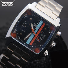 men mechanical watches Jaragar brand luxury men's automatic stainless steel band  watches hot male black auto date wristwatches