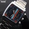 Homens relógios mecânicos Jaragar relógios banda de aço inoxidável automático dos homens da marca de luxo quente do sexo masculino preto auto data relógios de pulso