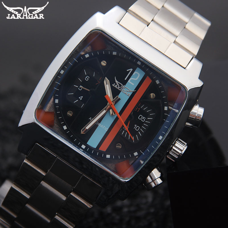 Men Mechanical Watches Jaragar Brand Luxury Men s Automatic Stainless Steel Band Watches Hot Male Black