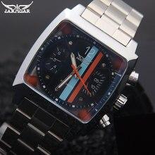 Hommes mécanique montres Jaragar marque de luxe hommes automatique en acier inoxydable bande montres chaude mâle noir auto date montres