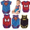 Algodão verão Meninos Meninas Jumpsuit 2016 Personagem Batman Bebê Bebes Crianças Macacão Macacão de Bebê Bodysuit Roupas de Bebê Menino