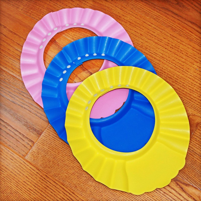 Big Size 4 Gears Adjustable Soft Baby Shampoo Cap Children Sun Bath Cap Environmental Protection EVA Hat Wash Hair Shield
