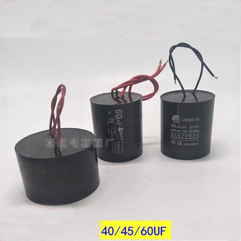1 pc 15/20/25/30/35/40 uf 45 uf 50 uf 60 uf 70 uf 50/60 hz 450vac cbb60 óleo imersão poço profundo bomba motor começar a trabalhar capacitor