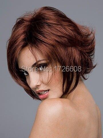 2016 1PC Women Natural Kanekalon Wig Heat Resistant Short Curly Hair Wigs Fashion White European Synthetic Dark Brown U Part