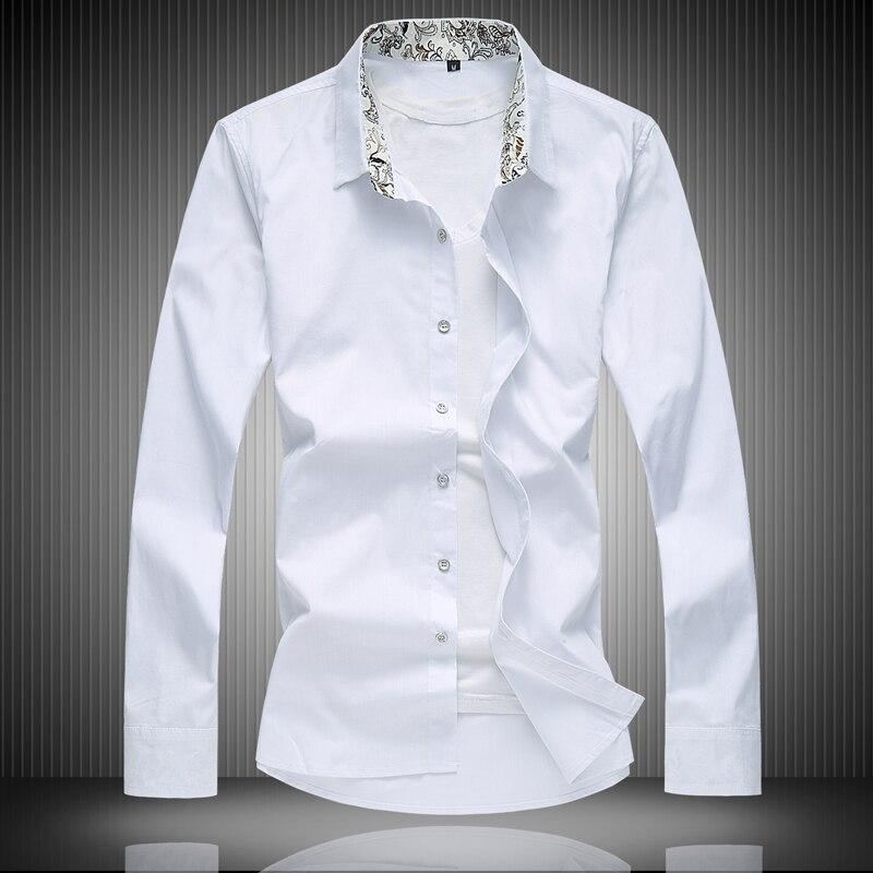 2018 Business Männer Shirts, Stadt Trendy Männer Hohe Qualität Plus Größe Beiläufige Lange Hülse Weiß Shirts, M-5xl-6xl 7xl/8xl