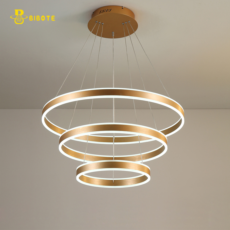 Luxury Modern chandelier LED circle ring chandelier light for living room Acrylic Lustre Chandelier Lighting Rose Gold