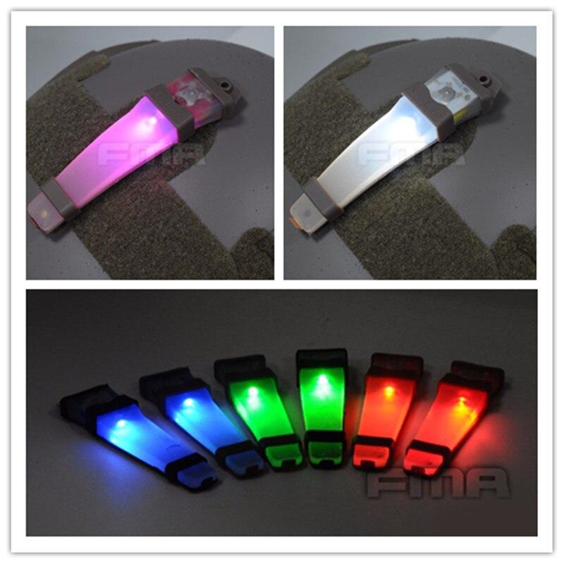 Prix pour Vente chaude FMA Airsoft V-Lite Sécurité LED Signal Flash Light avec Magic Tape Soutenu Tactique Survie Casque Lumières pour En Plein Air