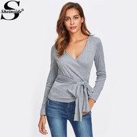 Sheinside Fashion Belt Bow Surplice Wrap Heathered Knit Tee Women Grey V Neck Long Sleeve Plain