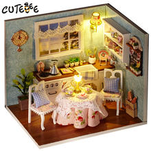Assemble DIY Doll House Toy Wooden Miniatura Houses Miniature Dollhouse toys With Furniture LED Lights Birthday Gift H09
