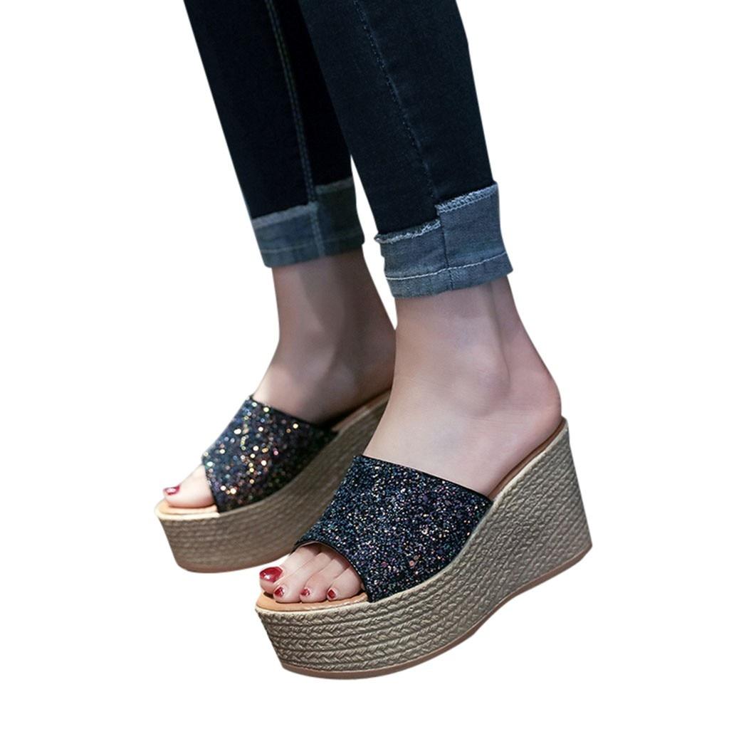 9d291cc8974a77 2018 Peep Wedge Casual Confortable forme Noir Chaussures Toe Doux Sandales  Paillettes Plate Mode D'été Femmes xTnHRqv