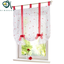 Sinogem Roman Curtain New Design Floral Embroidered Sheer Window Curtain For Kitchen Living Room Voile Tulle Screening Panel New(China)