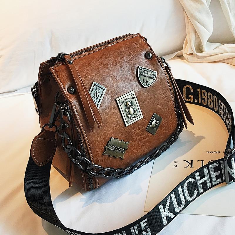 Metal Badge Appliques Handbags Chains Square Crossbody Bags Zipper Vintage Women Handbag Solid Fashion Letter Shoulder Strap Bag