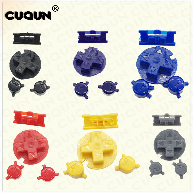 1 set Colorful buttons Keypad set replacement for Gameboy Color for GBC Game Console ON OFF Button AB Buttons D Pads replacement image