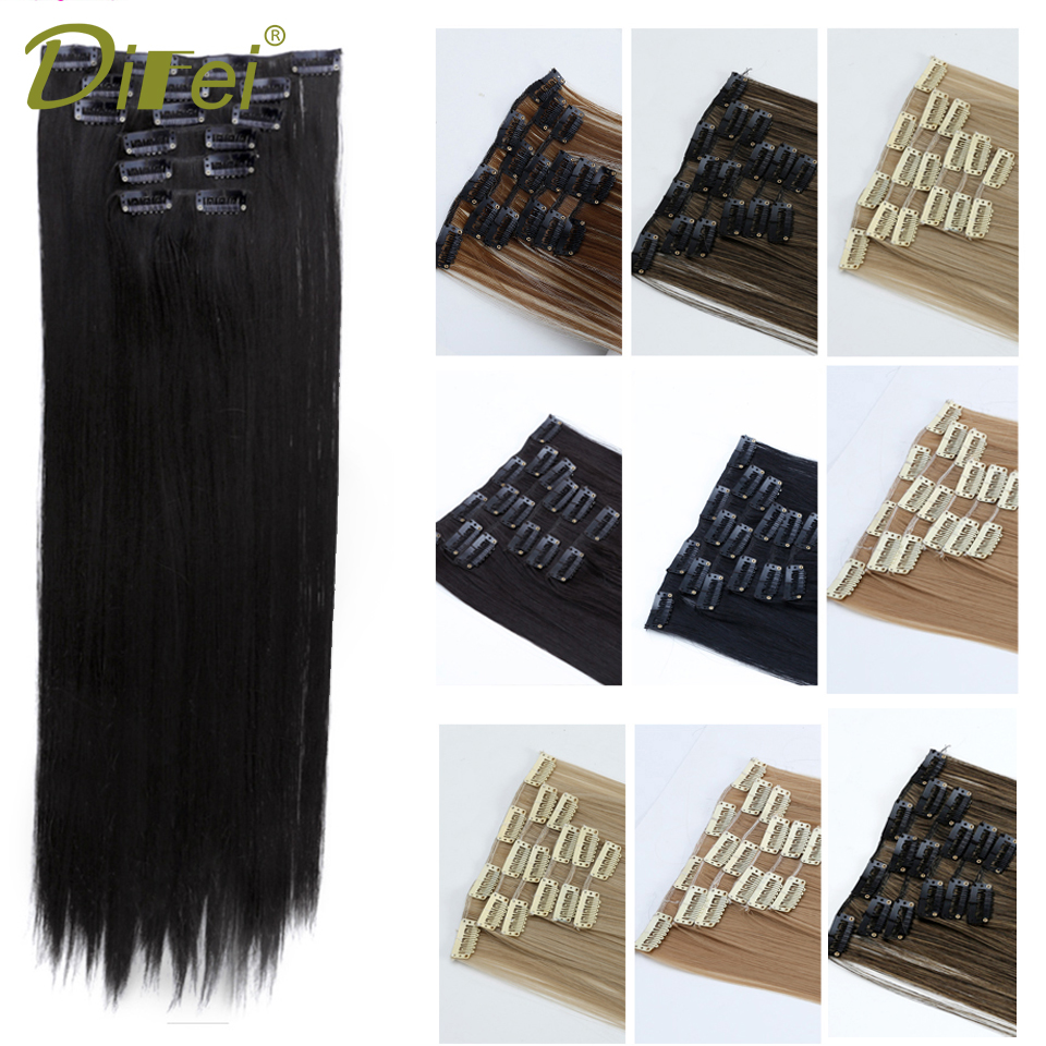 DIFEI 24'' Long 6 pcs/set Straight Hair Extension 11 Color <font><b>16</b></font> Clips In On Hair Extensions Heat Resistant Synthetic Hairpiece image