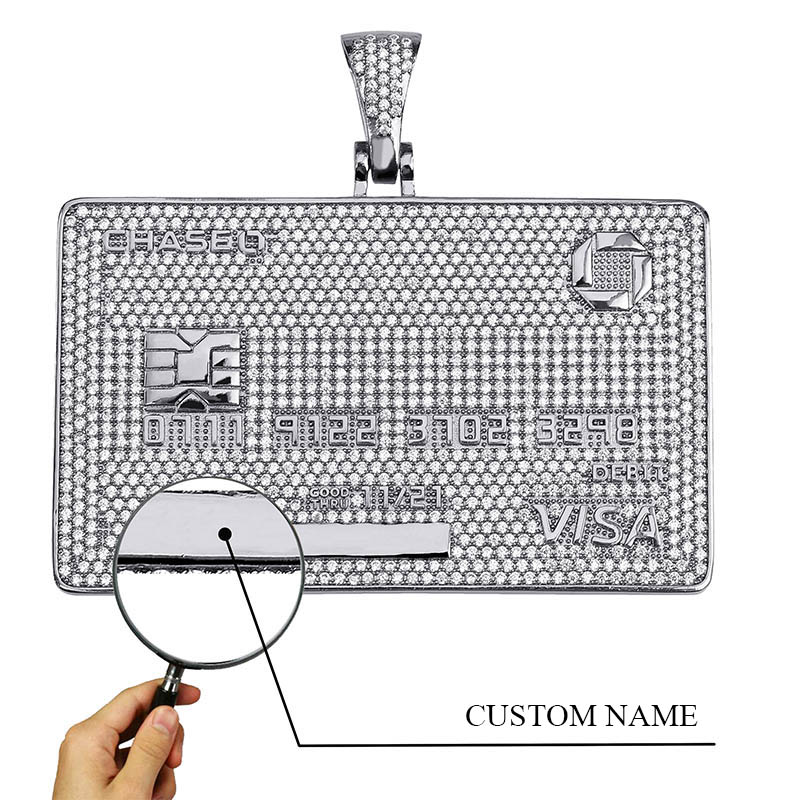 TOPGRILLZ Custom Name Iced Out Credit VISA Card Pendant Necklace AAA Cubic Zirconia Hip Hop Jewelry With Tennis Chain For Gift in Chain Necklaces from Jewelry Accessories