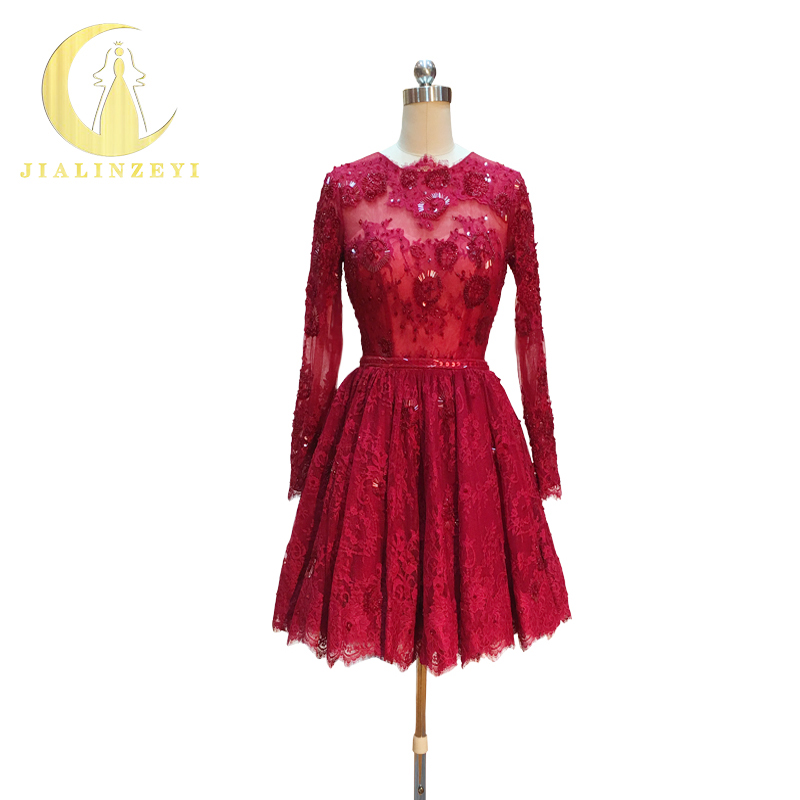 Vestido de Baile Reno Real Amostra Imagem Rendas Vermelho Escuro Mangas Compridas Contas Moda Novo Mini Comprimento