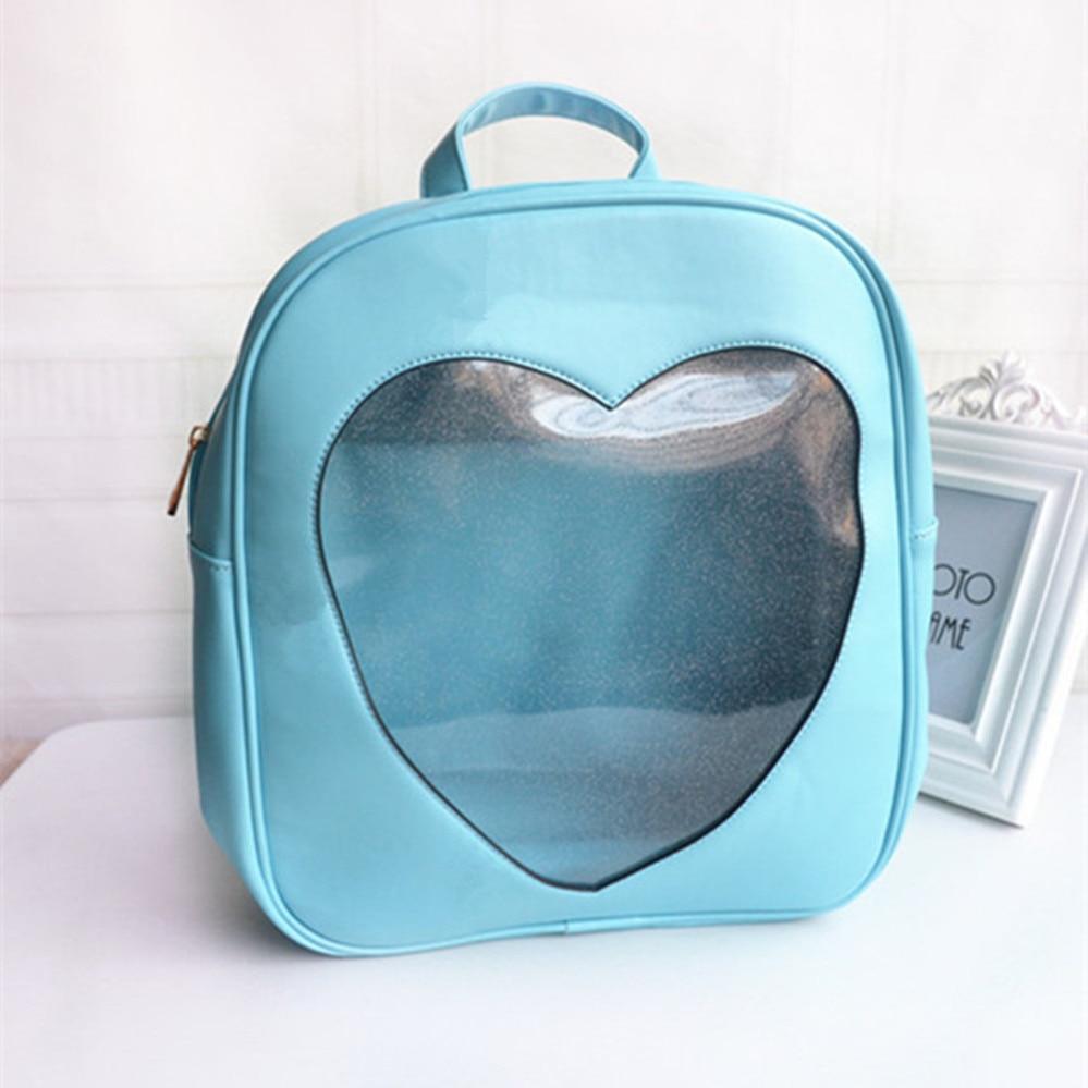 ФОТО HOT Japan Girls Kawaii Bling Transparent Love Teenager Girl School Bag Backpack Leather PU Backpack