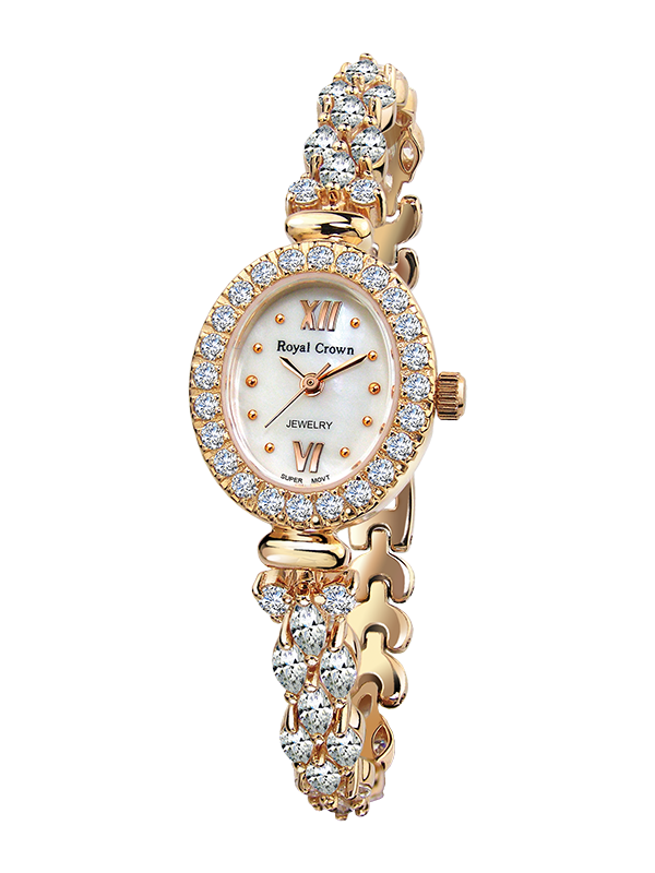 Royal Crown Jewelry Watch 1516B Italy brand Diamond Japan MIYOTA Rose gold female bracelet women fashion quartz watch royal crown jewelry watch 1514b italy brand diamond japan miyota platinum bracelet korean version female watch fashion