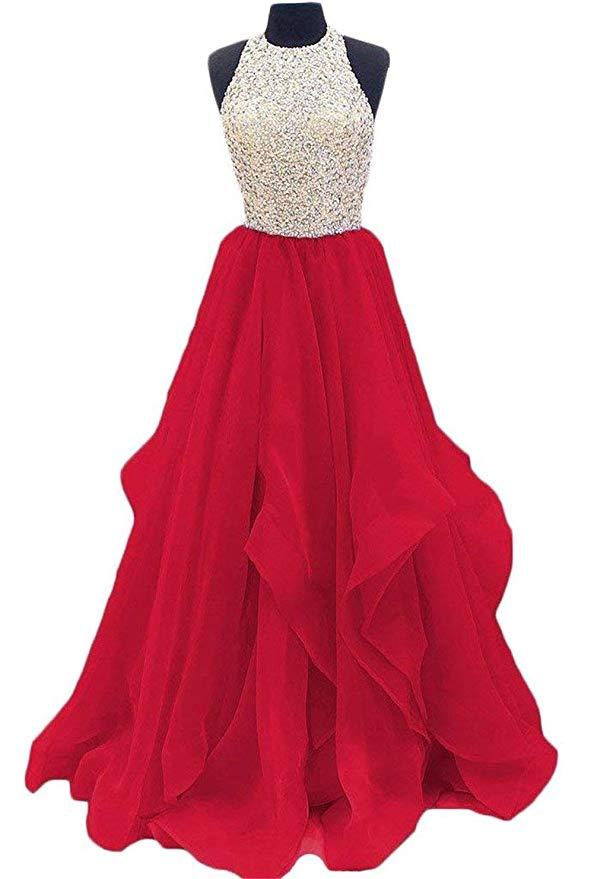 2019 Gorgeous Beaded Open Back Prom Dresses Keyhole Chiffon Sweet 16 Party Gown Vestidos De Fiesta Largos Elegantes De Gala