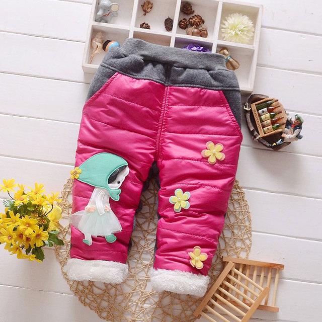 Para o inverno de alta qualidade meninas do bebê roupas de esportes ao ar livre casuais calças de marca de roupas de bebê flor flor calças quentes de espessura
