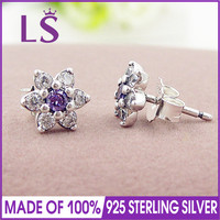 LS 100 Real 925 Sterling Silver Forget Me Not Stud Earrings For Women Lady Authentic Original