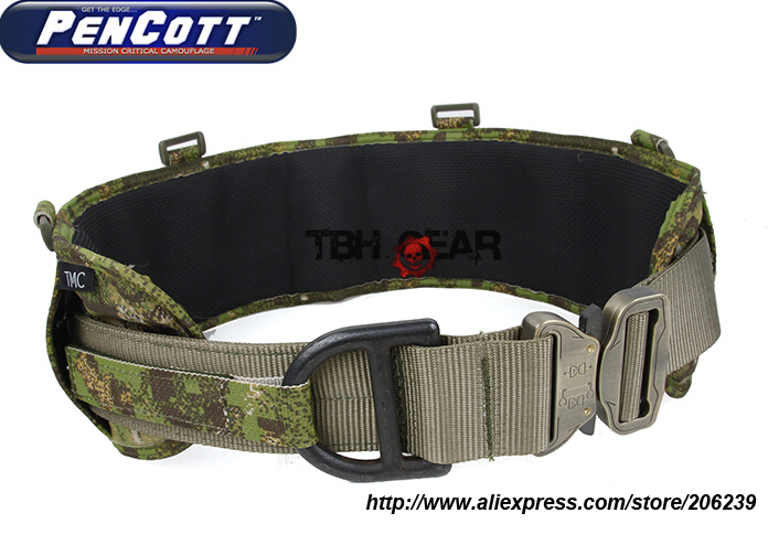 TMC Laser-Cut PALS Padded Military Tactical MOLLE Battle Belt Rigger Belt PenCott GreenZone+Free shipping(SKU12050788)