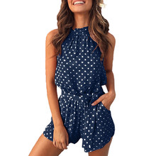 Summer romper women dot sleeveless backless short rompers women jumpsuit pocket print sexy playsuit jumpsuit female 2019 DR281(China)